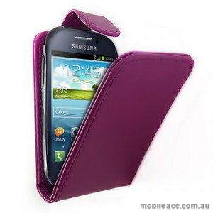 Synthetic Leather Flip Case for Telstra Samsung Galaxy Young S6310 - Purple