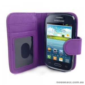 Synthetic Leather Wallet Case for Samsung Galaxy Young S6310 - Purple
