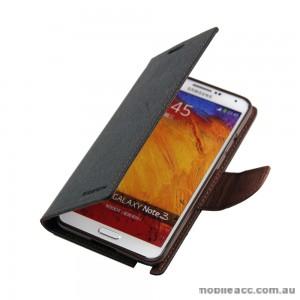 Mercury Goospery Fancy Diary Wallet Case for Samsung Galaxy Note 3 - Black / Brown