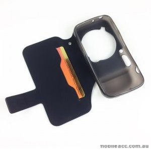 Synthetic Leather Wallet Case for Samsung Galaxy S4 Zoom - Black