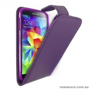 Synthetic Leather Flip Case Cover for Samsung Galaxy S5 - Purple