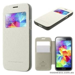 Korean WOW Window View Flip Cover for Samsung Galaxy S5 - White