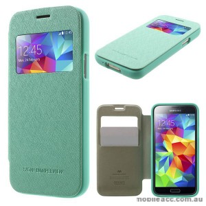 Korean WOW Window View Flip Cover for Samsung Galaxy S5 - Green