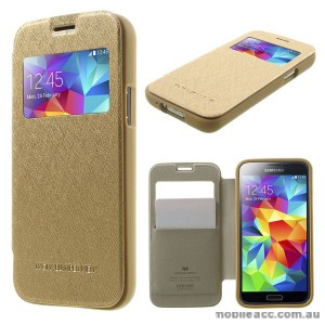 Korean WOW Window View Flip Cover for Samsung Galaxy S5 - Gold