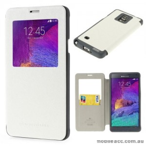 Korean WOW Window View Flip Cover for Samsung Galaxy Note 4 - White