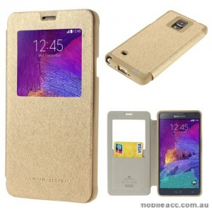 Korean WOW Window View Flip Cover for Samsung Galaxy Note 4 - Gold