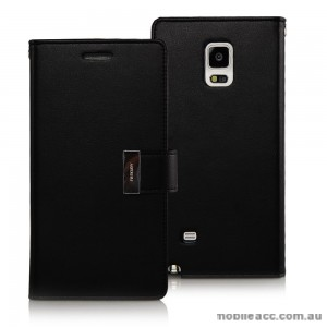 Korean Mercury Rich Diary Double Wallet Case for Samsung Galaxy Note 4 - Black