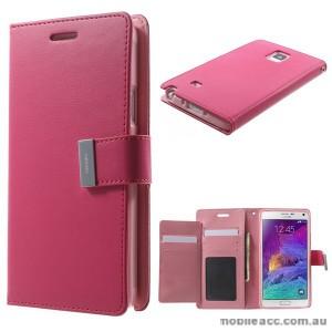 Korean Mercury Rich Wallet Case for Samsung Galaxy Note 4 - Hot Pink