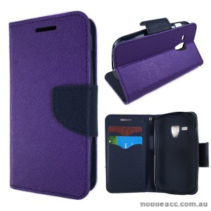 Wisecase Wallet Case Cover for Telstra Samsung Galaxy Trend Plus Purple