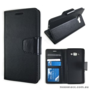 Samsung Galaxy A3 Stand Wallet Case Cover - Black