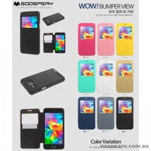 Korean Wow Bumper View Flip Cover for Samsung Galaxy A5 - Black