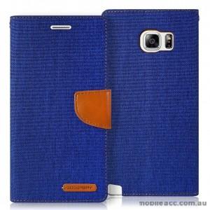 Korean Mercury Canvas Diary Wallet Case for Samsung Galaxy S6 Edge Blue