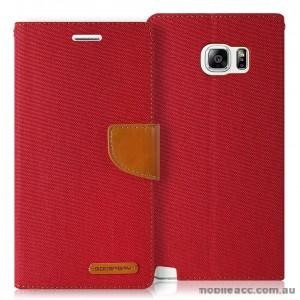 Korean Mercury Canvas Diary Wallet Case for Samsung Galaxy S6 Edge Red