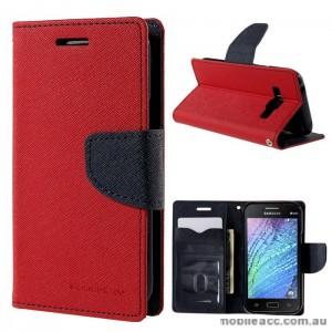 Mercury Goospery Fancy Diary Wallet Case for Samsung Galaxy J1 Red