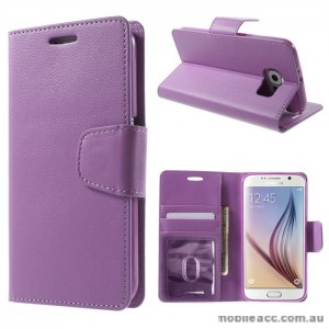 PU Leather Wallet Case for Samsung Galaxy S6 Edge Plus Purple