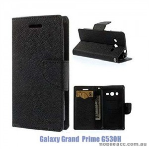 Korean Mercury Fancy Diary Wallet Case Cover for Samsung Galaxy Grand Prime G530 Black