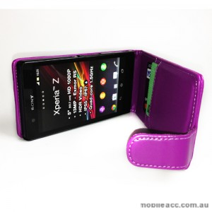 Synthetic PU Leather Flip Case with Credit Card Slots for Sony Xperia Z L36i - Purple