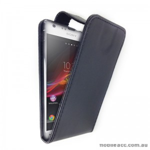 Synthetic Leather Flip Pouch Case with Card Slots for Sony Experia SP M35h