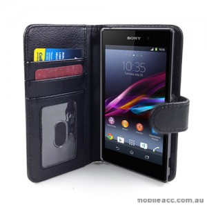 Synthetic Leather Wallet Case for Sony Xperia Z1 L39h - Black