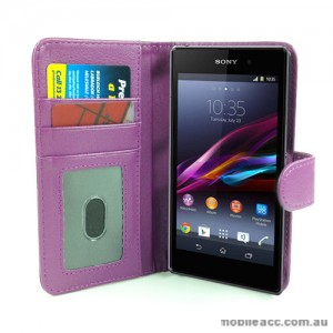 Synthetic Leather Wallet Case for Sony Xperia Z1 L39h - Purple
