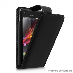 Synthetic Leather Flip case for Sony Xperia M - Black