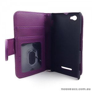 Synthetic Leather Wallet case for Sony Xperia M - Purple