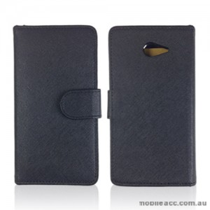 Synthetic Leather Wallet Case for sony Xperia M2 - Black