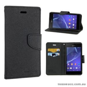Mercury Fancy Diary Wallet Case for Sony Xperia M2 - Black