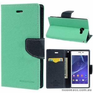 Mercury Fancy Diary Wallet Case for Sony Xperia M2 - Green