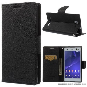 Korean Mercury Fancy Diary Wallet Case for Sony Xperia C3 - Black
