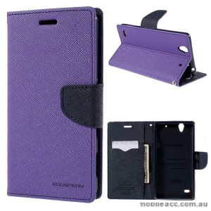 Korean Mercury Fancy Diary Wallet Case Cover for Sony Xperia C4 Purple