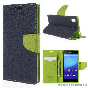 Korean Mercury Goospery Fancy Diary Wallet Case for Sony Xperia M4 Blue