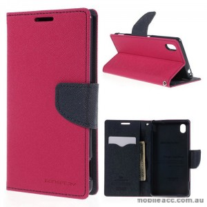 Korean Mercury Goospery Fancy Diary Wallet Case for Sony Xperia M4 Hot Pink