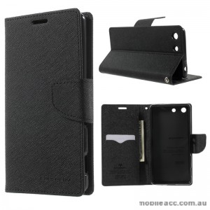 Korean Mercury Fancy Diary Wallet Case for Sony Xperia M5 Black