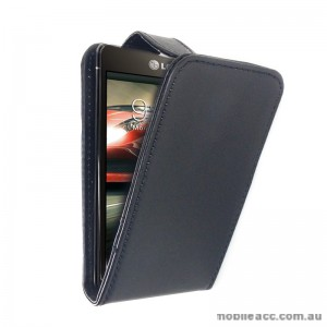 Synthetic Leather Flip Pouch Case with Card Slots for LG Optimus F5 P875 - Black