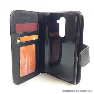 Synthetic Leather Wallet Case for LG G2 D802 - Black