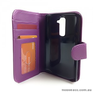 Synthetic Leather Wallet Case Cover for LG G2 D802 - Purple