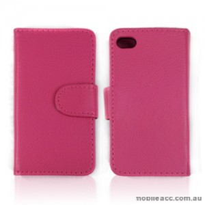 Synthetic PU Leather Wallet Case Cover for Apple iPhone 4S / 4 - Pink