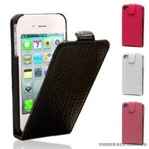 Crocodile Skin Synthetic Leather Flip Case Cover for iPhone 4S / 4 - 5 Color