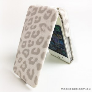 GOOD Quality Leopard Pattern Flip Case for Apple iPhone 4S / 4 - White