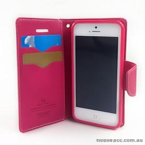 Mercury Goospery Fancy Diary Wallet Case for iPhone 5C - Hot Pink