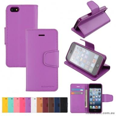 Mercury Goospery Sonata Diary Wallet Case for iPhone 5/5S/SE - Purple