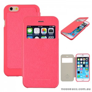 Korean WOW Window View Flip Cover for iPhone 5/5S/SE - Hot Pink X2