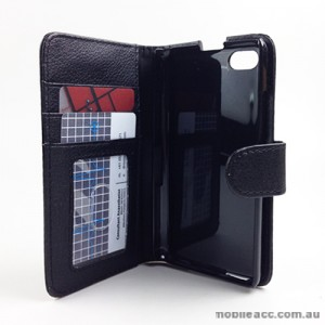 Synthetic Wallet Case Cover for BlackBerry Z30 - Black