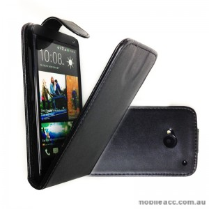 Synthetic Leather Flip Case for HTC One M7 - Black X2