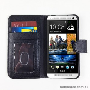 Synthetic Leather Wallet Case for HTC One mini M4 - Black