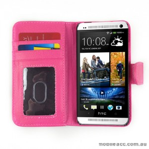 Synthetic Leather Wallet Case for HTC One mini M4 - Hot Pink