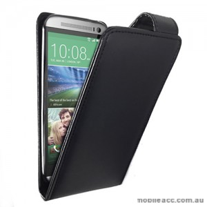 Synthetic Leather Flip Case Cover for HTC One M8 - Black