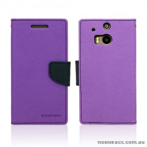 Mercury Goospery Fancy Diary Wallet Case for HTC One M8 - Purple