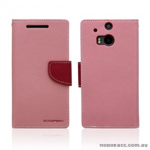 Mercury Goospery Fancy Diary Wallet Case for HTC One M8 - Baby Pink